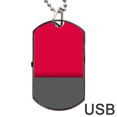 Red Gray Flag Line Horizontal Dog Tag Usb Flash (one Side) by Mariart