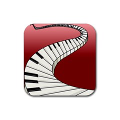 Piano Keys Music Rubber Square Coaster (4 Pack)  by Mariart