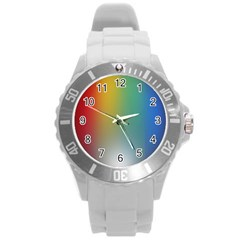 Rainbow Flag Simple Round Plastic Sport Watch (l) by Mariart