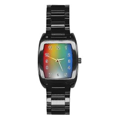 Rainbow Flag Simple Stainless Steel Barrel Watch by Mariart