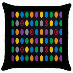Polka Dots Rainbow Circle Throw Pillow Case (black) by Mariart