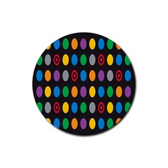 Polka Dots Rainbow Circle Rubber Coaster (round)  by Mariart