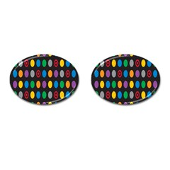 Polka Dots Rainbow Circle Cufflinks (oval) by Mariart