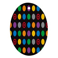 Polka Dots Rainbow Circle Oval Ornament (two Sides) by Mariart