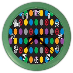 Polka Dots Rainbow Circle Color Wall Clocks by Mariart