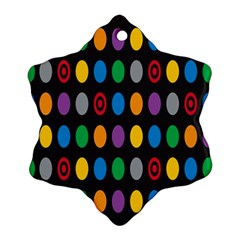 Polka Dots Rainbow Circle Snowflake Ornament (two Sides) by Mariart