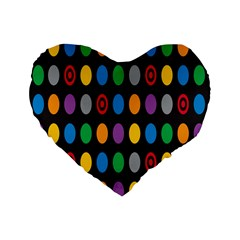 Polka Dots Rainbow Circle Standard 16  Premium Heart Shape Cushions by Mariart