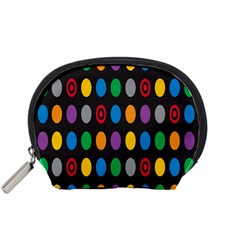 Polka Dots Rainbow Circle Accessory Pouches (small)  by Mariart