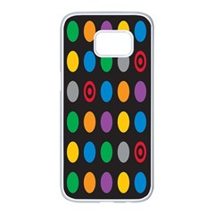 Polka Dots Rainbow Circle Samsung Galaxy S7 Edge White Seamless Case by Mariart