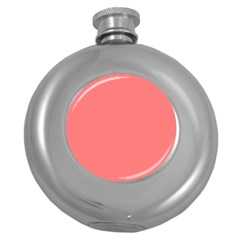 Coral Solid Color  Round Hip Flask (5 Oz) by SimplyColor