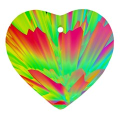 Screen Random Images Shadow Green Yellow Rainbow Light Ornament (heart) by Mariart