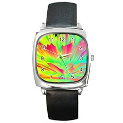 Screen Random Images Shadow Green Yellow Rainbow Light Square Metal Watch