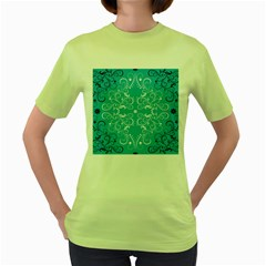 Repeatable Flower Leaf Blue Women s Green T Shirt