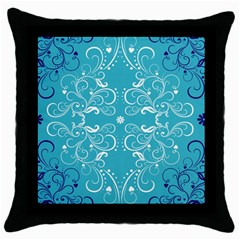 Repeatable Flower Leaf Blue Throw Pillow Case (black) by Mariart
