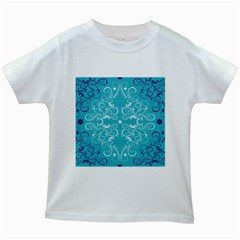 Repeatable Flower Leaf Blue Kids White T Shirts