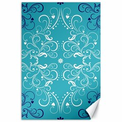Repeatable Flower Leaf Blue Canvas 24  X 36