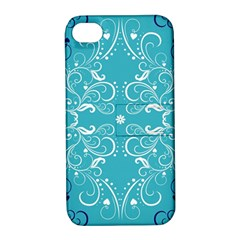 Repeatable Flower Leaf Blue Apple Iphone 4/4s Hardshell Case With Stand by Mariart