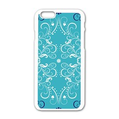 Repeatable Flower Leaf Blue Apple Iphone 6/6s White Enamel Case by Mariart