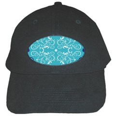 Repeatable Flower Leaf Blue Black Cap by Mariart