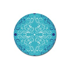 Repeatable Flower Leaf Blue Magnet 3  (round) by Mariart