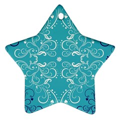Repeatable Flower Leaf Blue Star Ornament (two Sides) by Mariart