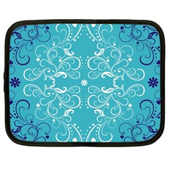Repeatable Flower Leaf Blue Netbook Case (large) by Mariart