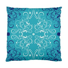 Repeatable Flower Leaf Blue Standard Cushion Case (two Sides) by Mariart