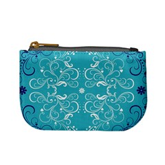 Repeatable Flower Leaf Blue Mini Coin Purses