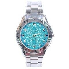 Repeatable Flower Leaf Blue Stainless Steel Analogue Watch