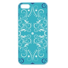 Repeatable Flower Leaf Blue Apple Seamless Iphone 5 Case (color) by Mariart