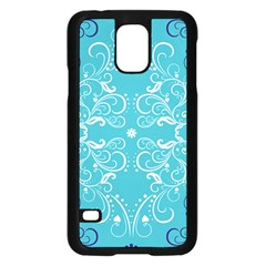Repeatable Flower Leaf Blue Samsung Galaxy S5 Case (black) by Mariart