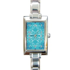 Repeatable Flower Leaf Blue Rectangle Italian Charm Watch by Mariart