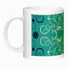Repeatable Flower Leaf Blue Night Luminous Mugs by Mariart
