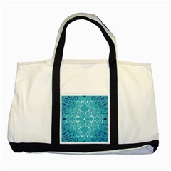 Repeatable Flower Leaf Blue Two Tone Tote Bag by Mariart