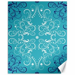 Repeatable Flower Leaf Blue Canvas 16  X 20   by Mariart