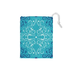 Repeatable Flower Leaf Blue Drawstring Pouches (small)  by Mariart