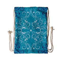 Repeatable Flower Leaf Blue Drawstring Bag (small) by Mariart