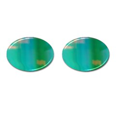 Shadow Faintly Faint Line Green Cufflinks (oval) by Mariart