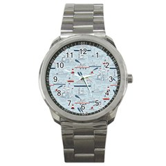 Ships Sails Sport Metal Watch by Mariart