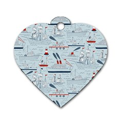 Ships Sails Dog Tag Heart (two Sides) by Mariart