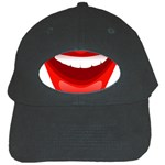 Smile Lips Transparent Red Sexy Black Cap Front