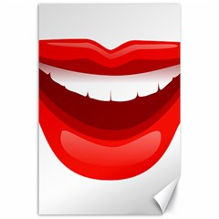 Smile Lips Transparent Red Sexy Canvas 24  X 36  by Mariart