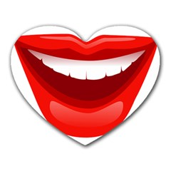 Smile Lips Transparent Red Sexy Heart Mousepads by Mariart