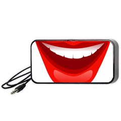 Smile Lips Transparent Red Sexy Portable Speaker (black) by Mariart
