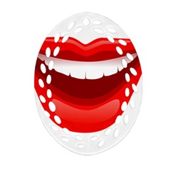 Smile Lips Transparent Red Sexy Ornament (oval Filigree) by Mariart
