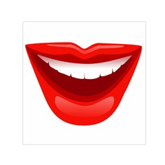 Smile Lips Transparent Red Sexy Small Satin Scarf (square) by Mariart