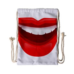 Smile Lips Transparent Red Sexy Drawstring Bag (small) by Mariart