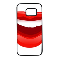 Smile Lips Transparent Red Sexy Samsung Galaxy S7 Black Seamless Case