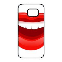 Smile Lips Transparent Red Sexy Samsung Galaxy S7 Edge Black Seamless Case by Mariart