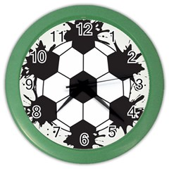 Soccer Camp Splat Ball Sport Color Wall Clocks by Mariart